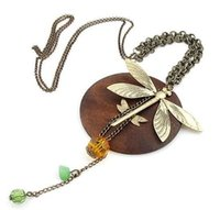 Wholesale Necklace Dragonfly Wood - Free shipping 10 pcs lot fashion jewelry for women Europe and America trendy dragonfly necklace hot selling design whosaler price