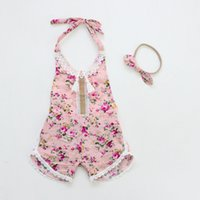 Wholesale Headband Tutu Rompers - Everweekend Ins Baby Girls Candy Floral Ruffles Summer Rompers with Headbands Cute Candy Color Sweet Children Fashion Clothing
