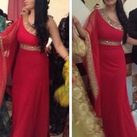 arabisches rotes kaftan kleid großhandel-Rote Dubai Arabische Kaftan Abendkleider 2018 mit Gold Perlen Kristall eine Schulter Abaya Dubai Chiffon Formale Festzug Prom Kleider
