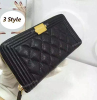Wholesale Excellent Quality Purse - excellent quality brand design caviar boy zipper wallet classic black quilted folded boy purse real calfskin women boy flap wallet free ship