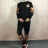 Wholesale Korean Couple Pullover - Tide brand boys clothes fall suit Slim trend Korean men and women models couple two sets of tiger embroidery suit