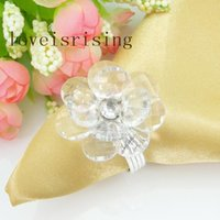 Wholesale Crystal Napkin Rings Wholesale - 3 Color Flower U Pick--50pcs high quality CLEAR crystal flower Flower Gem Napkin Ring Wedding Bridal Shower Favor