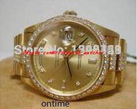 hombres corona reloj al por mayor-Relojes de pulsera de lujo Nuevo modelo Hombres II Bisel de diamantes Reloj Hombres Relojes de oro Super Crown Relojes de pulsera automáticos para hombres