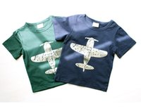 Wholesale Planes Shirts - PrettyBaby 2016 summer 2 colors boys T-shirts green&black plane picture printed cotton children T-shirts DHL free shipping