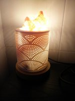 Wholesale Night Lamp Ceramic Wholesale - Antihypertensive Gift Himalayan Crystal Salt Lights Night Lamp wood base ceramic frame Decorated for Bedside healthy