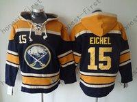 ingrosso vecchio jack-Jack Eichel Jersey # 15 Buffalo Sabbie Maglie di hockey su ghiaccio Felpa con cappuccio da hockey old time Felpa con cappuccio da uomo con doppia felpa Hockey
