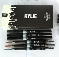Wholesale Soft Eyebrow Pencil - Kylie Jenner Eye Brow Pencil 2 in 1 Waterproof Eyebrow Pencil with Brush Eyeliner SOFT BROWN GRAY DARK BROWN