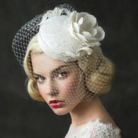 pedaços de cabelo de casamento venda por atacado-Moda Flor Chapéu De Noiva Tiaras Com Pérolas Cabeça Peças de Algodão De Noiva Headbands Tiaras Coroas Acessórios Do Cabelo Do Casamento
