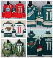 Wholesale Cheap Wild Hockey Jerseys - 2016 Minnesota Wild 11 Zach Parise Ice Hockey Jerseys Wholesale Team Color Red Green White Camo Stadium Series Zach Parise Jersey Cheap