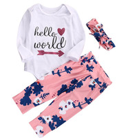 Wholesale Wholesale Zebra Print Flowers - Newborn Baby Girsl Cotton Clothes Hello World Print letter Romper Tops & Infant floral Pants & girls flower Headband Outfits 0-18M