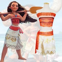 Wholesale Christmas Dresses For Women - Hot Movie Princess Moana Cosplay Costume for Kids Adults Moana Princess Dress Children Halloween Costume Party Dress