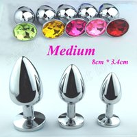 Wholesale Plug Medium Steel - 80 * 34 Medium Metal Anal Sex Toys For Woman & Man, Stainless Steel Enticing Jewelry Butt Plug. Large Ass Beads Products AS024M BY DHL