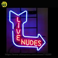 "Wholesale Nude Neon Lights - Wholesale- NEON SIGN For LIVE NUDES SIGN Signboard REAL GLASS BEER BAR PUB display christmas Light Signs 17*14"" Neon Signs For Home Lamp"