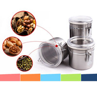 Wholesale Tea Sugar Jars - Newest 2015 High Quality Stainless Steel Sealed Canister Jar Home Kitchen Coffee Sugar Tea Storage Bottles Jars Free Shipping order<$18no tr