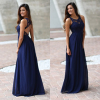 Wholesale Lavender Dresses For Brides Maids - 2016 Royal Blue Brides Maid Country Bridesmaids Dresses Sheer Crew Neck Lace Top Sleeveless Long Full Length Bridesmaid Gown for Weddings