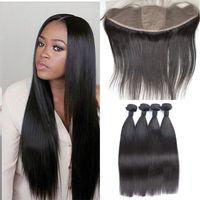 Wholesale Silk Closure Straight - 13x4 Silk Base Lace Frontal Closure With Bundles Virgin Brazilian Straight Human Hair Full Frontal Closure With Baby Hair G-EASY