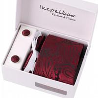 Wholesale necktie custom for sale - Group buy Ikepeibao Necktie Custom Brand Tie Wedding Set Necktie Wine Paisley Floral Mens Gravata Wide Pasta Colar w Gift Box for Wedding