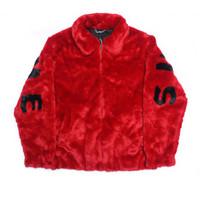chaqueta carta pareja al por mayor-17ss BOX LOGO Faux Fur Bomber Jacket Fur Letter Coats Pareja Moda Negro Rojo Artificial Fur Warm Prendas de abrigo HFJK008