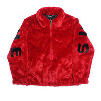 Wholesale red fur jackets - 17ss S Faux Fur Bomber Jacket Fur Letter Coats Couple Fashion Black Red Artificial Fur Warm Outerwear S~XL HFJK008