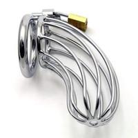 melhores cintos masculinos de castidade venda por atacado-New CB709 Aço Inoxidável Masculino Dispositivo de Gaiola de Cadeia Bondage Bondage UA1 Melhor Presente # R172