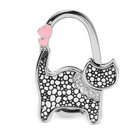 Wholesale Gift Bag Hooks - Wholesale- Hot Unisex Table Cat Foldable Purse Bag Rhinestone Hanger Hangbag Hook Holder Safer Gift -Black + Silver dots