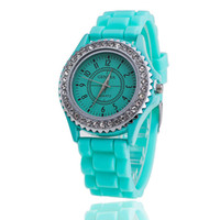 Wholesale Complete Supplies - A lot of cash supply Geneva complete set auger 15 color silicone watch Geneva silicone jelly watch