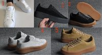 Wholesale Creeper Shoes Printed - 2016 Rihanna x Suede Creeper Black Star White Black Women Men Casual Shoes, Fashion Ladies Rihanna shoes sneakers women men 36-44