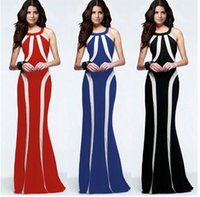Wholesale Double Maxi Long Dress - Slim double color stitching hanging neck dress long evening ladies dresses sexy party ball gowns fashion women clothing 1401#