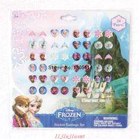 Wholesale Princesses Nail Stickers - New 20 sheets 480 pairs fashion popular Elsa Anna Princess Sticker On Earrings Stickers Nail Sticker Children Classic Toys Gift