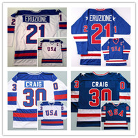 Wholesale Usa Olympic Hockey - 17 Jack Ocallahan 21 Mike Eruzione 30 Jim Craig 1980 USA Hockey Shirts Olympic,Stitched 1980 Miracle On Ice Hockey Running Jerseys