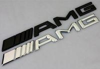 amg 3d-sticker großhandel-10 stücke Auto Silber Chrom Schwarz 3 Mt AMG Aufkleber Aufkleber Logo Emblem Abzeichen für Mercedes CL GL SL ML A B C E Sclass