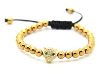 Hot Sale 2016 High Grade Jewelry Venda Por Atacado Leopard Head Beads 6mm Beads Braided Macrame European American Weaving Mens Bracelets