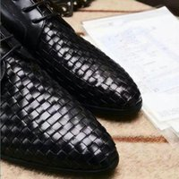 Wholesale Top Mens Dress Shoes - Men Brand top quality Lace up dress shoes luxury genuine leather weave comfortable pointed toe luxury wedding shoes mens flats business Driv
