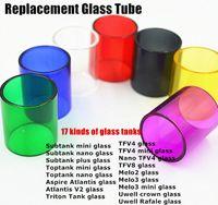 Wholesale colored crowns - Colored Replacement Glass Tube for Subtank Toptank Mini Nano Atlantis Triton TFV4 TFV8 Melo2 Melo3 Mini Uwell Crown Rafale Tank DHLFREE