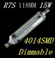 cree led ersatz glühbirnen großhandel-Freies Verschiffen NEUE Dimmable R7S LED Lampe 15W SMD4014 118mm LED R7S Glühlampe 220-240V Energiesparender Halogenersatz