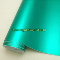 Wholesale Matte Chrome Vinyl Wrap - High Quality Satin Matte Chrome Tiffany Blue Vinyl Wrap Film Decal Sheet Bubble Free For Car Styling