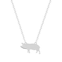 Wholesale Gold Plate Chain Necklace Discount - 10pcs lot Wholesale Cute Pig Animal Necklace Gift for Women Girls Necklace Charm Pendant Statement Jewelry Collier Femme Discount