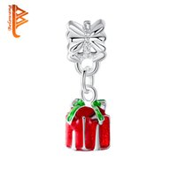 Wholesale Gift Boxes Fit For Bracelets - BELAWANG For Christmas Silver Plated Red Gift Boxes Charm Pendant with Clear CZ Loose Beads Fit Original Charm Bracelets&Bangles Jewelry