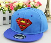 chapéus superman chapéus venda por atacado-Barato Superman Crianças Snapbacks Chapéus Hiphop Superman Crianças Snapbacks Moda Caps Hiphop Cap Ajustável Rua Popular