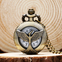 Wholesale Vintage Glass Patterns - Wholesale-Small Size Retro Vintage the Hunger Game Falcon Pattern Pocket Watch P539