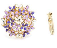 Wholesale Enamel Rhinestone Flower Clips - Dual Purpose Garment Pashmina Scarf Clip Luxury Rhinestone Enamel Flower Brooch Pin Hijab Pin