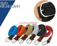 Wholesale Mens Canvas Webbing Belts - hot 150PCS new 80 colors Mens Womens Canvas Plain Webbing Metal Buckle Woven Stretch Waist Belt canvas Braided Belts