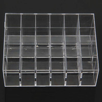 Wholesale Wholesale Makeup Display Stand - Wholesale-Clear Acrylic 24 Lipstick Holder Display Stand Cosmetic Organizer Makeup Case # 9014 Fress shipping