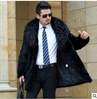 Wholesale Fur Coats Long Minks Sale - Fall-Men Winter Mink Fur Overcoats While Sale Casual Fox Fur Collar Black Male Jackets High Quality Plus Size Ufr Coats Outwear J1541