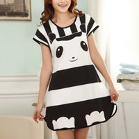 une pièce de nuit pour dessins animés achat en gros de-Great Cute Women's Cartoon Polka Dot Bedshirt à manches courtes Vêtements de nuit Fashion ladies Nightgowns One piece Factory Wholesale