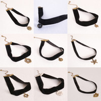 Wholesale Belt For Necklace - Women Necklaces Chokers Vintage Style Simple Retro Velvet Belt Neck Strap Chokers for Girls Necklaces Pendants Cheap Jewelry