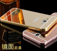 Wholesale Huawei P6 Pink - Deluxe Mirror Bling Hard PC Case+Metal aluminum Bumper For Huawei G7 G8 P9 P6 P7 P8 Lite,LG K7 G5 G4 V10 G3 G2,HTC One M9 M8 Alloy Skin