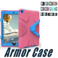 Wholesale Heavey Duty - Heavey Duty Shockproof Rugged Impact Hybrid Armor Case PC Silicone For iPad Mini 3 iPad 2 3 4 iPad 6 Pro 9.7