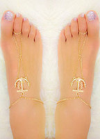 Wholesale Anchor Ankle Bracelet - Fashion Anchor Double Zipper Anklet Foot Bracelets Barefoot Sandals For Women Sexy Tin Chain Beach Free Shipping Ankle Bells Jewelry