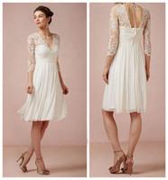 Wholesale Dresses Civil Wedding - Beach Wedding Dresses 2016 Bhldn Summer Ivory Chiffon Lace Illusion 3 4 Long Sleeve Knee Length Dress For Court Civil Wedding EN81213